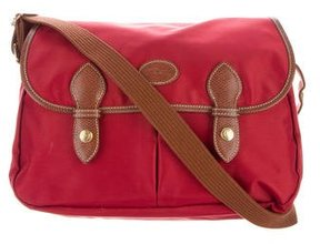 Longchamp Leather-Trimmed Crossbody Bag - RED - STYLE