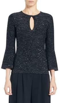 Carolina Herrera Lurex Knit Bell-Sleeve Sweater