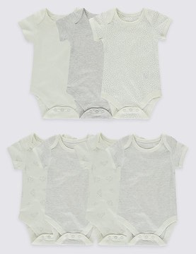 Marks and Spencer 7 Pack Pure Cotton Flat Seams Bodysuits