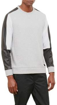 Kenneth Cole New York Reaction Kenneth Cole Pleather Pieced Colorblock Crewneck Sweatshirt