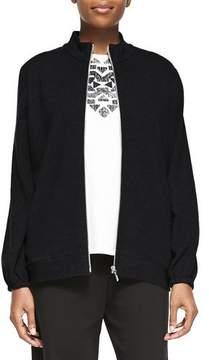 Joan Vass Mock-Neck Zip-Front Jacket