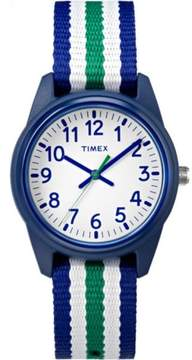 Timex Boys Time Machines Blue/Green/White Stripe Watch, Nylon Strap