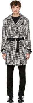 Saint Laurent Black and White Double-Breasted Chevron Trench Coat