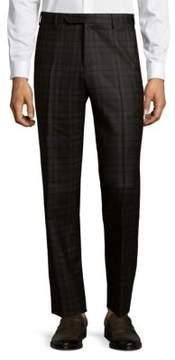 Zanella Parker Flat-Front Plaid Pants