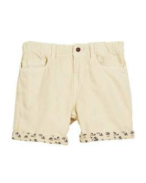 Mayoral Cotton-Blend Shorts w/ Safari-Print Cuffs, Size 12-36 Months