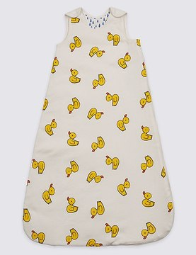 Marks and Spencer Pure Cotton 2.1 Tog Duck Print Sleeping Bag