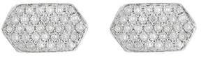 Bony Levy 18K White Gold Pave Diamond Geo Stud Earrings - 0.15 ctw