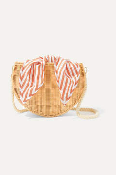 Kayu Dylan Wicker And Striped Cotton-canvas Shoulder Bag - Beige