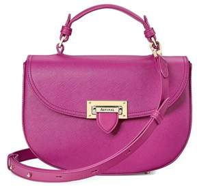 Aspinal of London Letterbox Saddle Bag In Orchid Saffiano