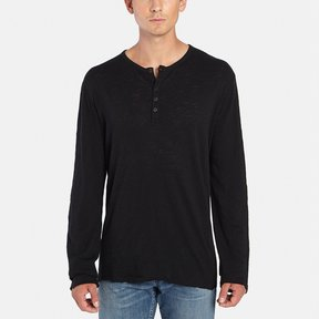 ATM Anthony Thomas Melillo Long-Sleeve Destroyed Wash Henley