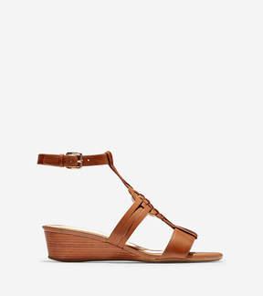 Findra Woven Slide Wedge Sandal in British tan