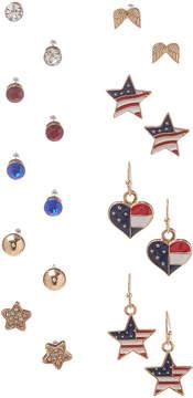 Carole Nine-Pair Red & Blue Stars & Hearts Earrings Set