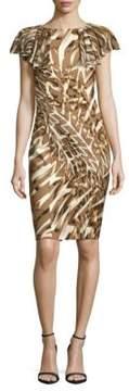 Basler Printed Flutter-Sleeve Dress
