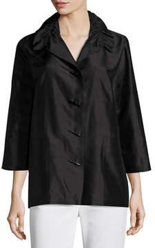 Caroline Rose Shantung Silk Shirt Jacket