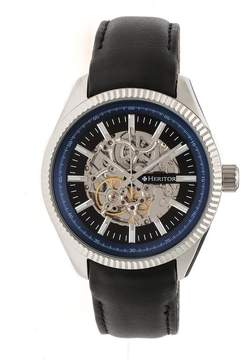Heritor Desmond Black Skeleton Dial Black Padded Leather Strap Automatic Men's Watch