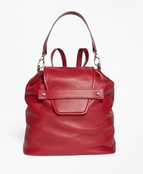 Brooks Brothers Pebbled Leather Envelope-Flap Convertible Backpack