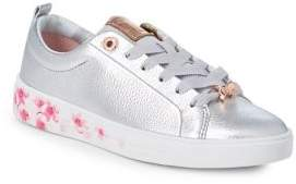 Ted Baker Kelleip Floral Lace-Up Leather Sneakers