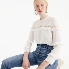 J.Crew Petite tiered ruffle top with scalloped lace trim