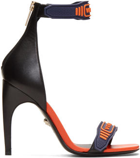 Versace Navy and Orange Logo Strap Sandals