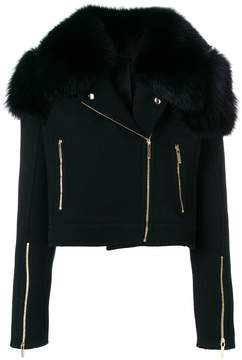 Elie Saab biker jacket with fox fur collar