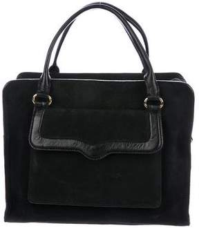 Rebecca Minkoff Leather-Trimmed Suede Satchel - BLACK - STYLE