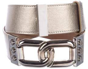 Michael Kors Leather Chain-Accented Belt
