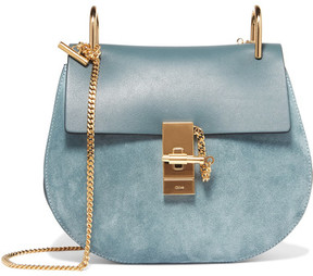 Chloé Drew Small Leather And Suede Shoulder Bag - Teal