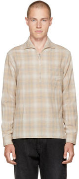 Cmmn Swdn Beige Lead Faded Check Shirt