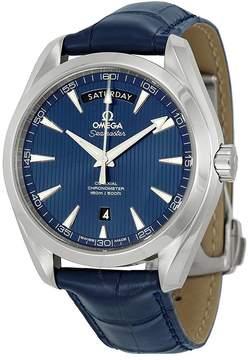 Omega Aqua Terra Blue Dial Blue Leather Men's Watch