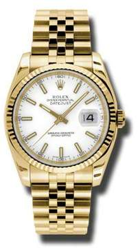 Rolex Datejust White Dial Automatic 18kt Yellow Gold Watch