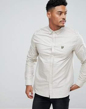 Lyle & Scott Long Sleeve Oxford Shirt In Light Stone