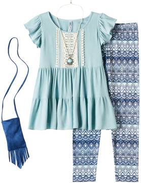 Knitworks Girls Plus Size Ruffle Tunic & Patterned Leggings Set with Necklace & Crossbody Purse