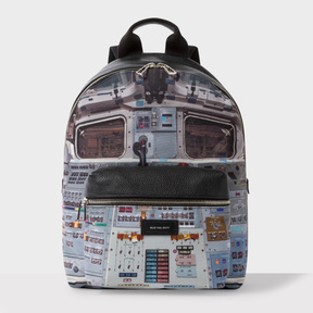 Paul Smith Men's Black Leather And Canvas 'Space Shuttle' Print Backpack