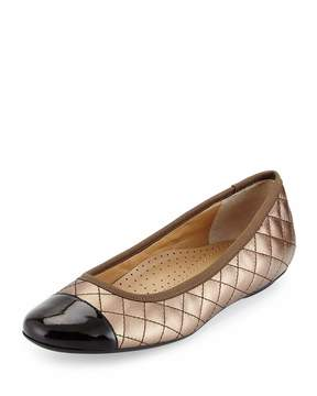 Neiman Marcus Saucy Quilted Leather Flat, Castagna/Black