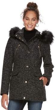 Apt. 9 Women's Textured Faux-Fur Trim Coat