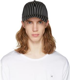 Rag & Bone Black Striped Baseball Cap