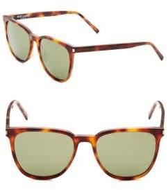 Saint Laurent 54MM Tortoise Rounded Square Sunglasses