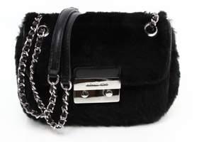Michael Kors Black Fur Shearling Leather Sloan Shoulder Bag Purse - BLACKS - STYLE