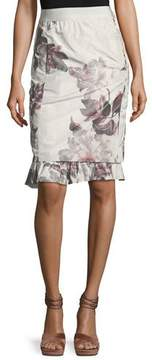 Brock Collection Selin Floral Ruffle-Hem Skirt
