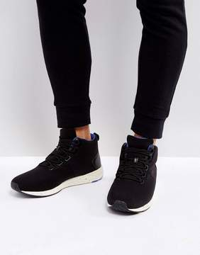 Asos High Top Sneakers In Black With Speckle Sole
