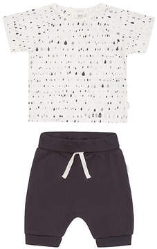 Petit Lem Off-White Abstract Organic Cotton Tee & Shorts - Newborn & Infant