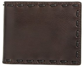 John Varvatos Men's Pickstitch Leather Bifold Wallet - Brown