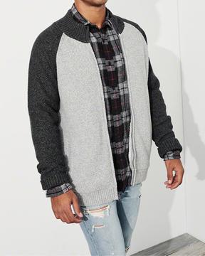 Hollister Full-Zip Sherpa-Lined Mockneck Sweater