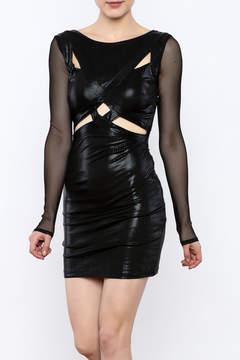 Bebe Fishnet Sleeve Dress