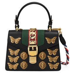 Gucci Sylvie Small Top-Handle Satchel Bag with Animal Embellishments - WHITE - STYLE