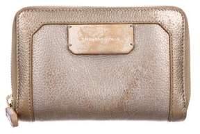 Stuart Weitzman Metallic Grained Leather Zip-Around Wallet