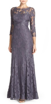 Adrianna Papell Women's Illusion Yoke Lace Gown