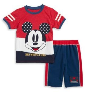 Nannette Patriotic Mickey Mouse Tee and Shorts Set