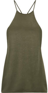 Halston Satin-crepe Top - Green