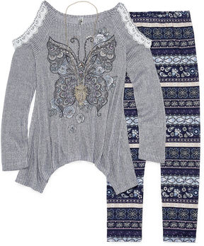 Knitworks Knit Works Cold Shoulder Long Sleeve Fashion Top Legging Set- Girls' 7-16 & Plus
